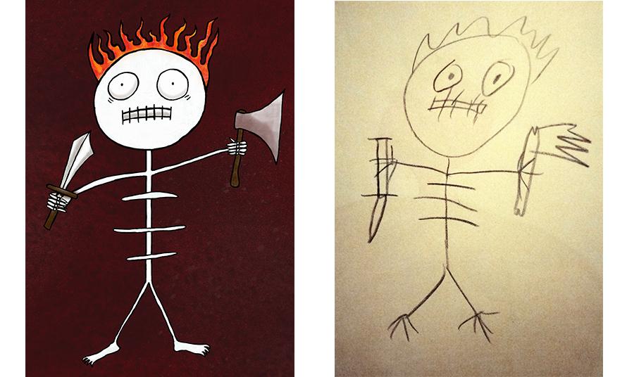 Skeleton by Simeon Vartik, and my illustration
