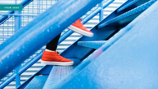 Blog header showing a person climbing a metal staircase
