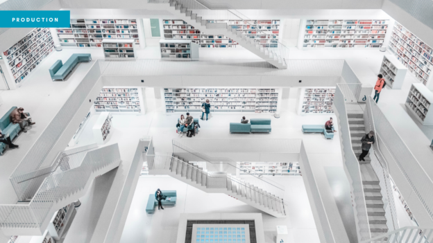 Blog header showing a white library building with several floors