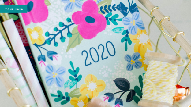 Blog header showing a 2020 diary with a flowery cover